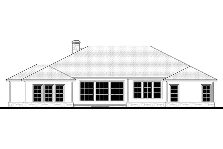 Country, Ranch, Traditional House Plan 51983 with 4 Beds, 4 Baths, 3 Car Garage Rear Elevation