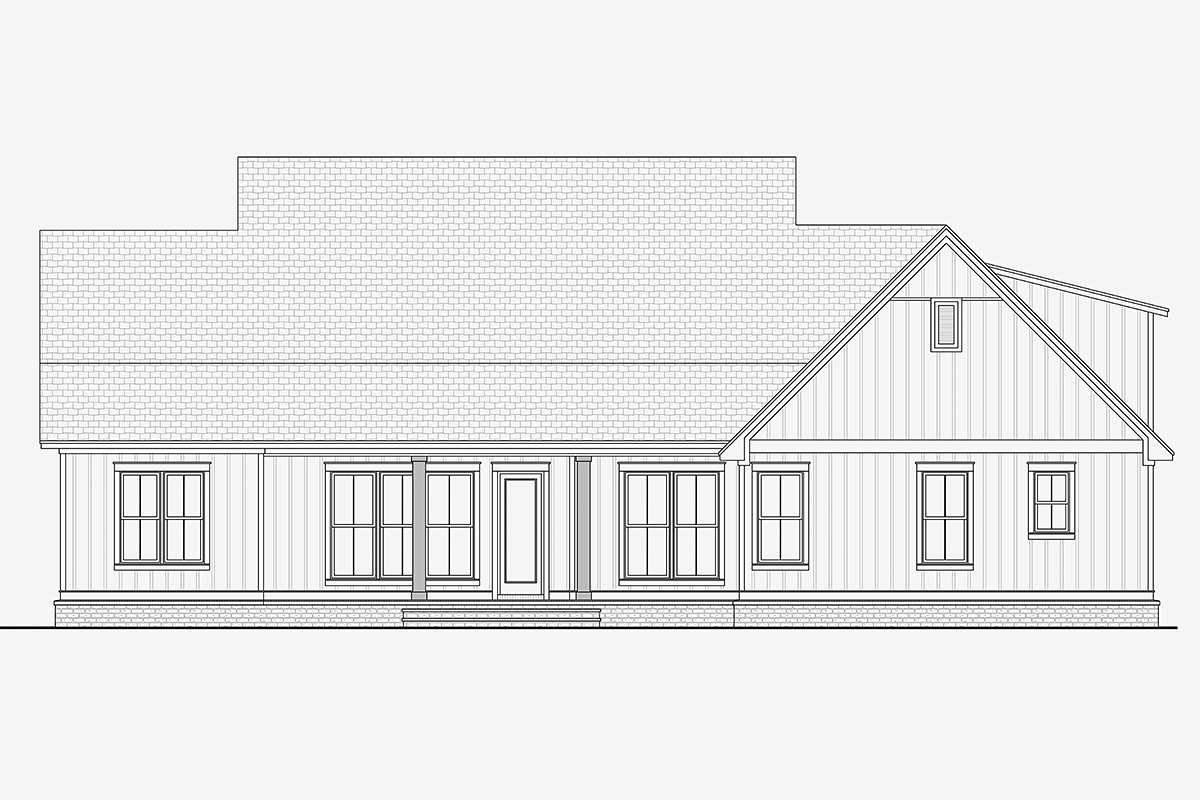 Country, Craftsman, Traditional House Plan 51993 with 3 Beds, 3 Baths, 2 Car Garage Rear Elevation