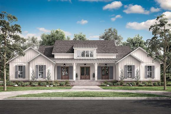 Country, Craftsman, Farmhouse House Plan 51996 with 4 Beds, 4 Baths, 2 Car Garage Elevation