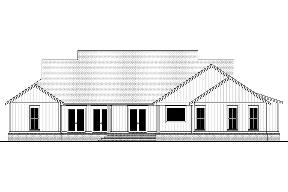 Country, Craftsman, Farmhouse House Plan 51996 with 4 Beds, 4 Baths, 2 Car Garage Rear Elevation