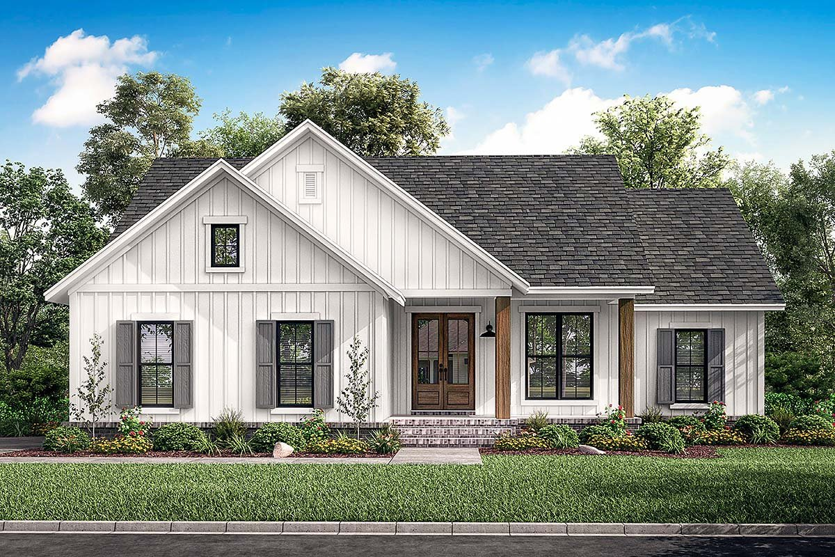 Country, Farmhouse, Southern, Traditional House Plan 51997 with 3 Beds, 2 Baths, 2 Car Garage Elevation