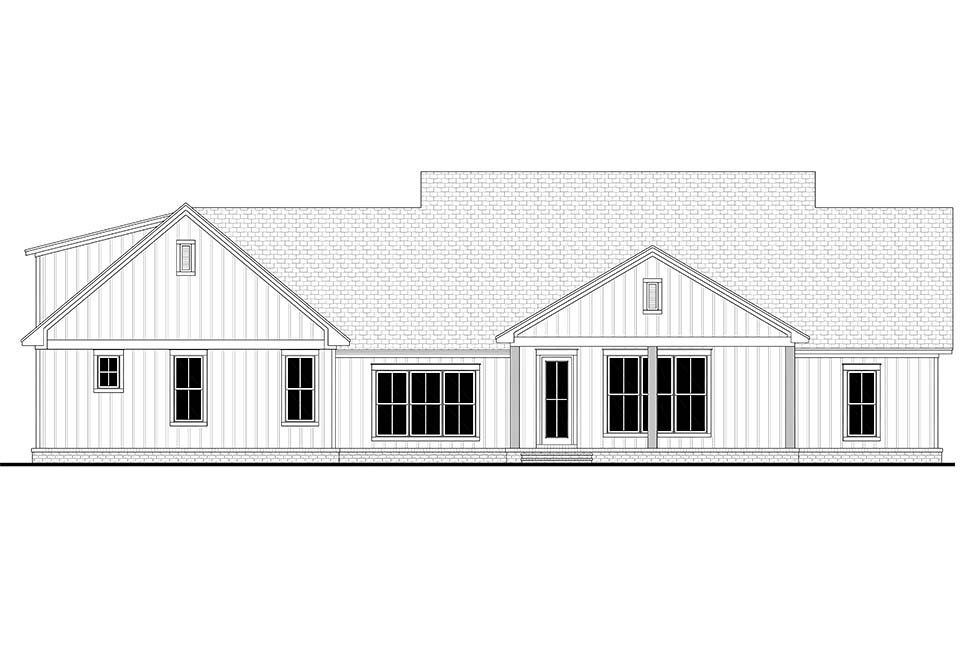 Country, Farmhouse, Southern House Plan 51998 with 4 Beds, 3 Baths, 2 Car Garage Rear Elevation