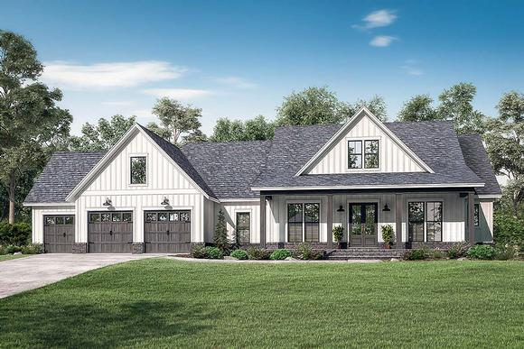 Country, Farmhouse, Southern House Plan 51999 with 4 Beds, 4 Baths, 3 Car Garage Elevation