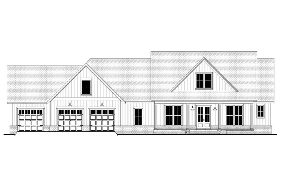 Country, Farmhouse, Southern House Plan 51999 with 4 Beds, 4 Baths, 3 Car Garage Picture 3