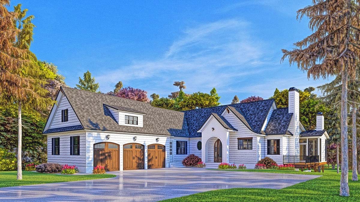 Coastal, Farmhouse, Southern House Plan 52025 with 4 Beds, 5 Baths, 3 Car Garage Elevation
