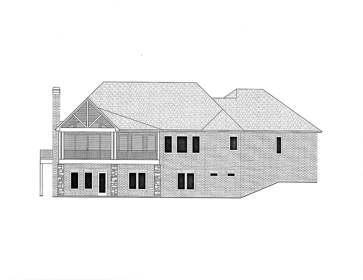 Craftsman, Traditional House Plan 52033 with 3 Beds, 4 Baths, 4 Car Garage Rear Elevation