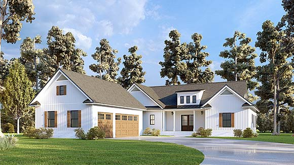 Craftsman, Farmhouse House Plan 52035 with 4 Beds, 4 Baths, 3 Car Garage Elevation