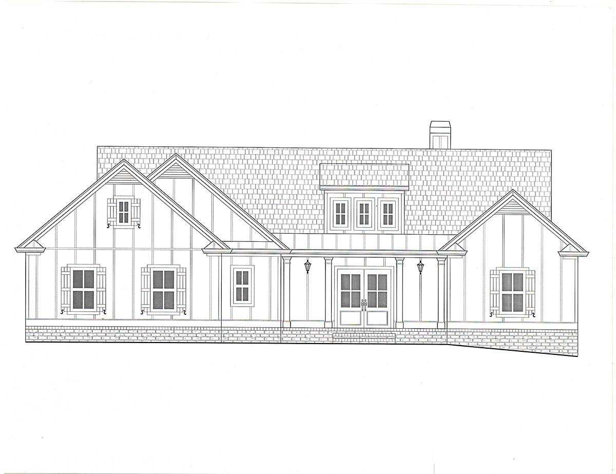 Craftsman, Farmhouse House Plan 52035 with 4 Beds, 4 Baths, 3 Car Garage Picture 1