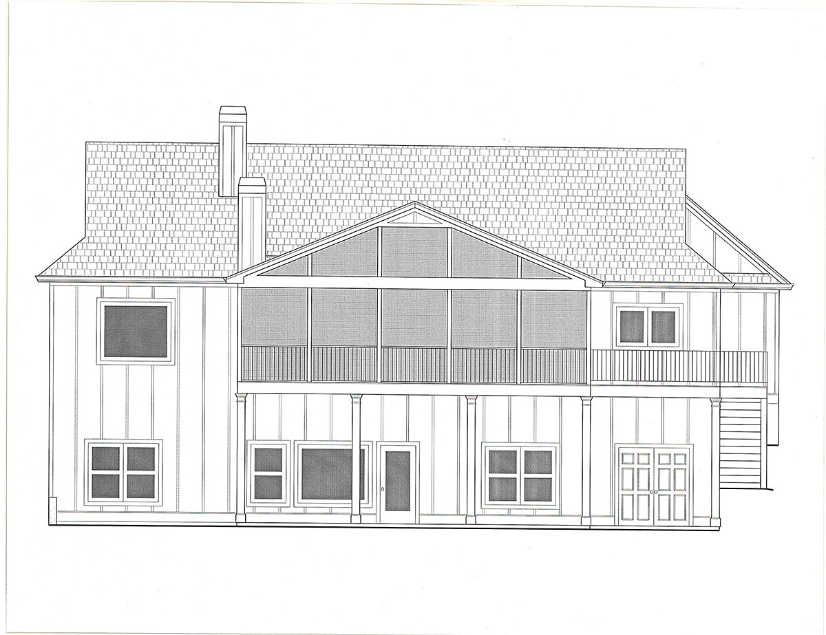 Craftsman, Farmhouse House Plan 52035 with 4 Beds, 4 Baths, 3 Car Garage Rear Elevation