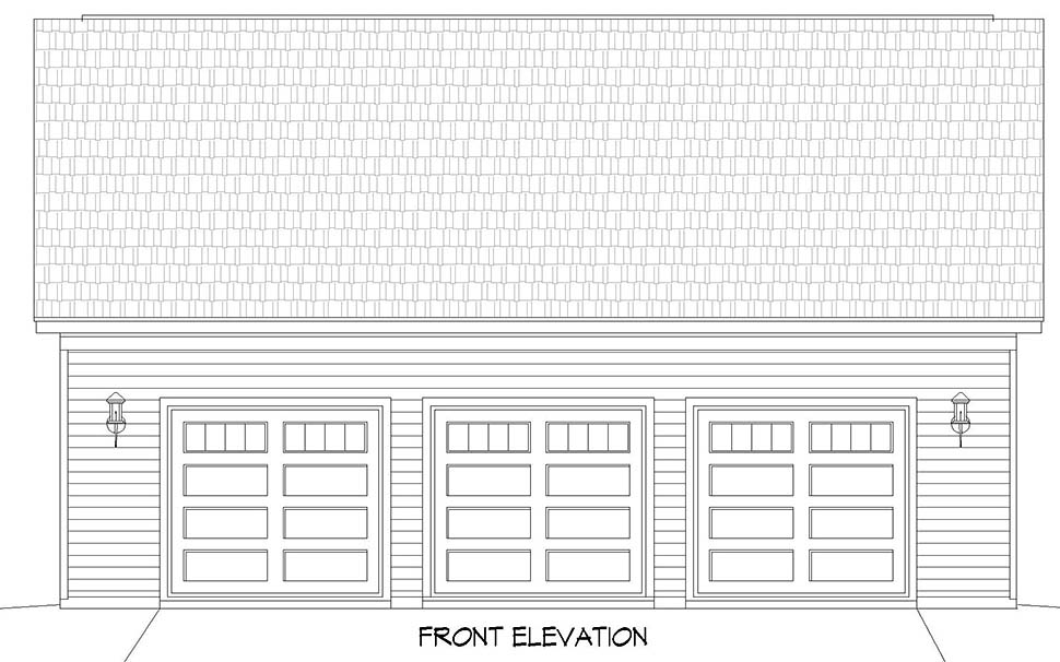 Traditional 3 Car Garage Plan 52106 with 1 Beds, 1 Baths Picture 3