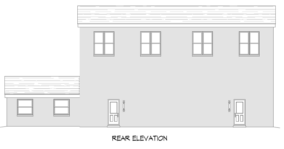 Contemporary, Modern Multi-Family Plan 52108 with 6 Beds, 4 Baths, 6 Car Garage Rear Elevation