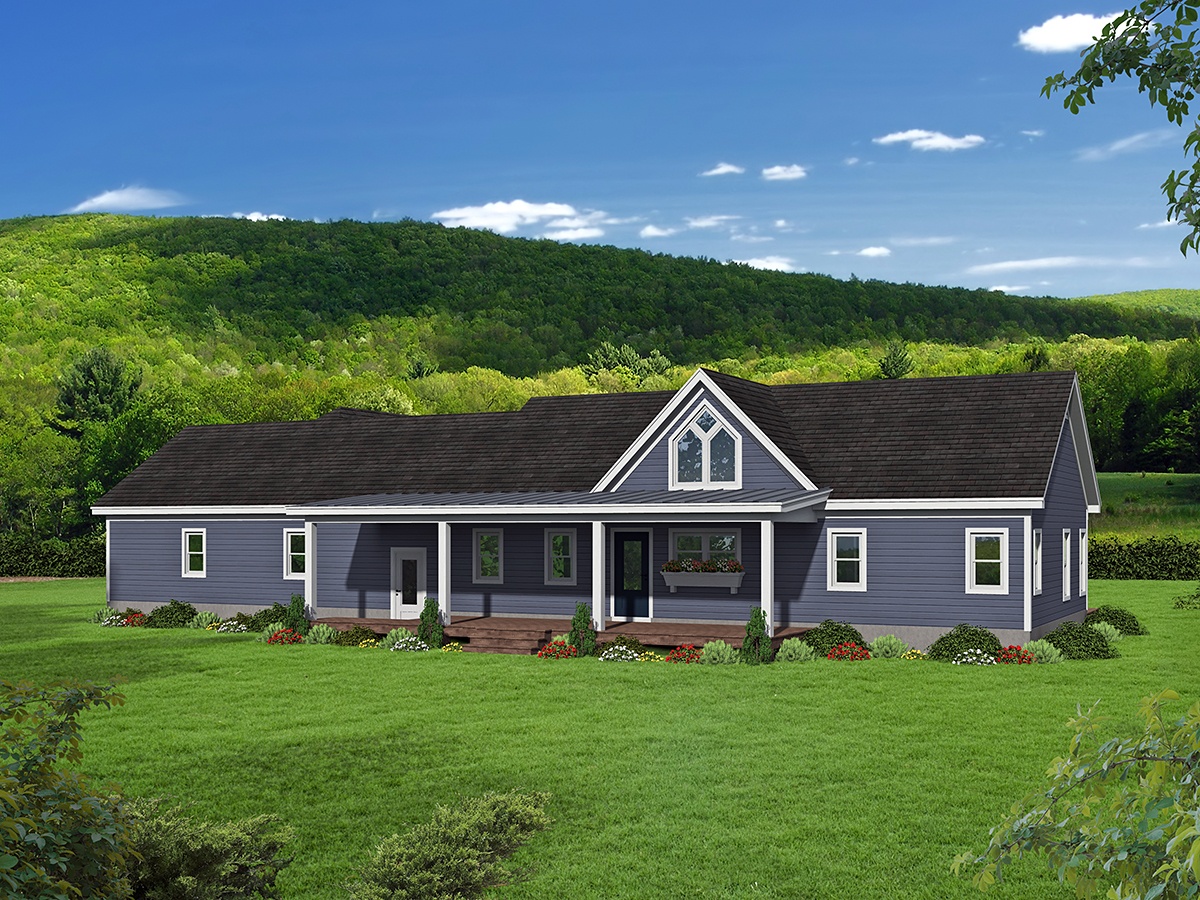 Traditional House Plan 52115 with 2 Beds, 2 Baths, 2 Car Garage Rear Elevation