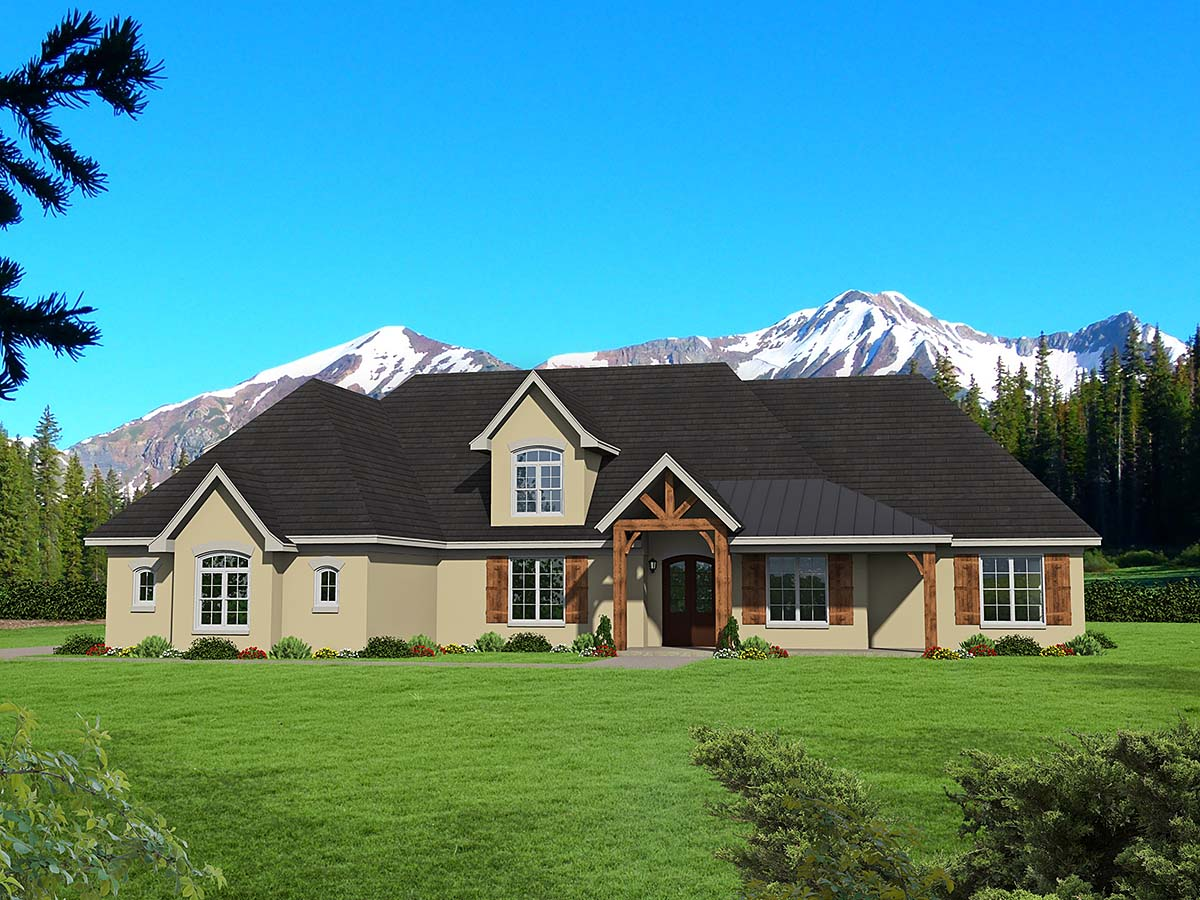 European, French Country, Ranch House Plan 52121 with 3 Beds, 3 Baths, 3 Car Garage Elevation
