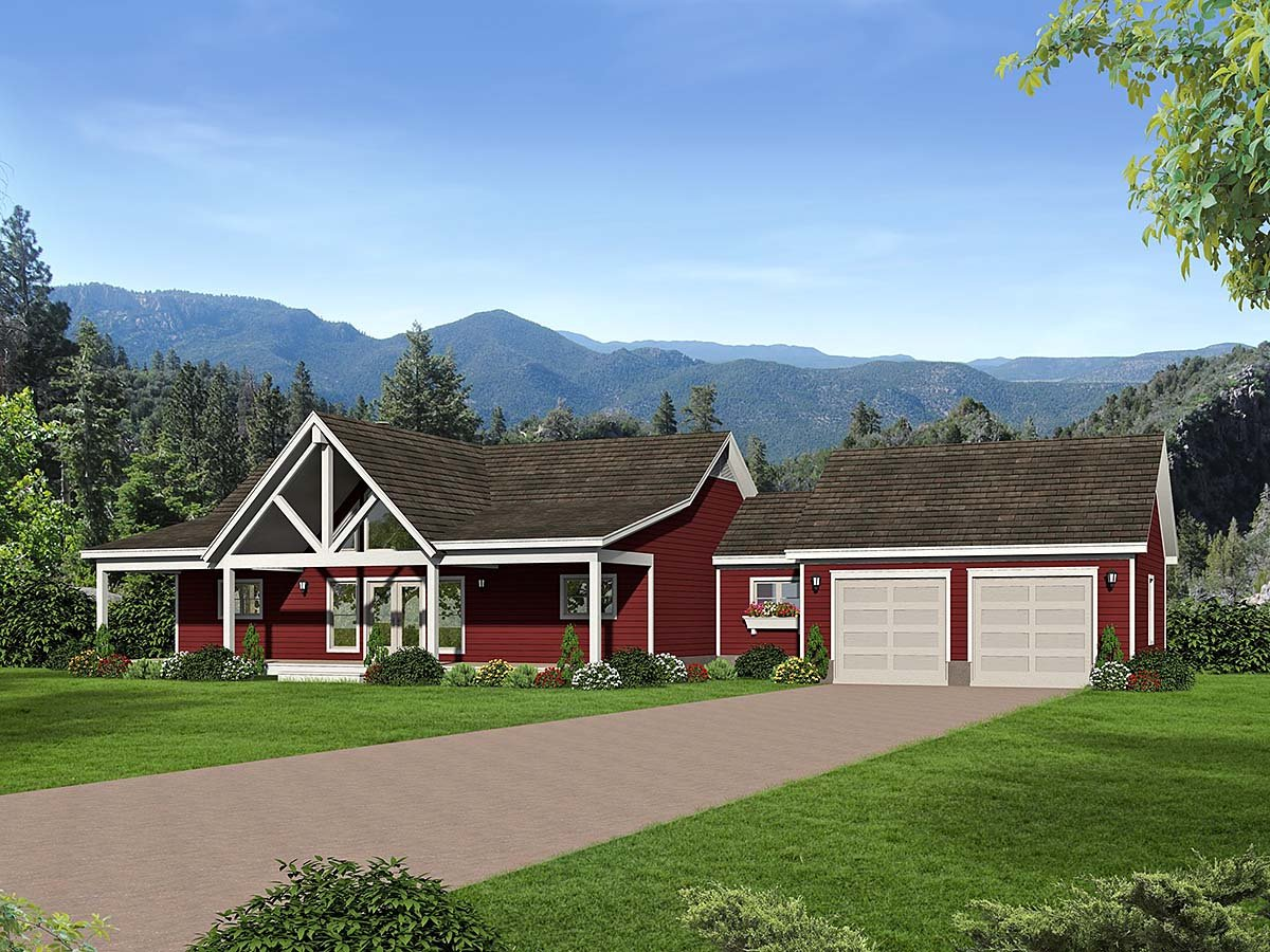 Country, Farmhouse, Traditional House Plan 52122 with 2 Beds, 2 Baths, 2 Car Garage Elevation