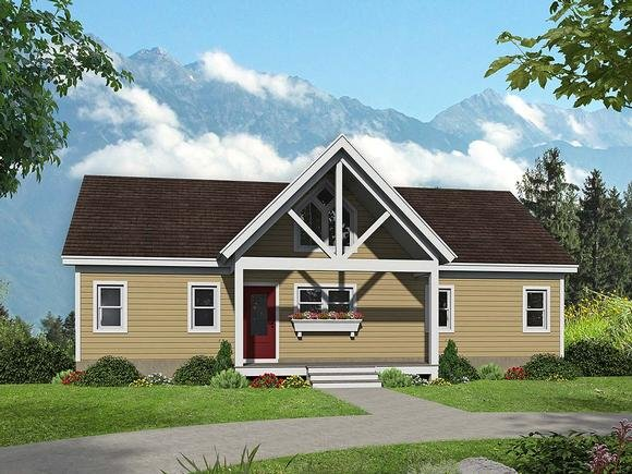 Country, Ranch, Traditional House Plan 52126 with 2 Beds, 2 Baths Elevation