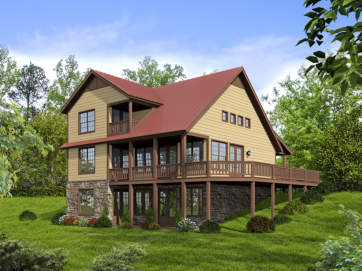 Country, Farmhouse House Plan 52131 with 3 Beds, 2 Baths Rear Elevation