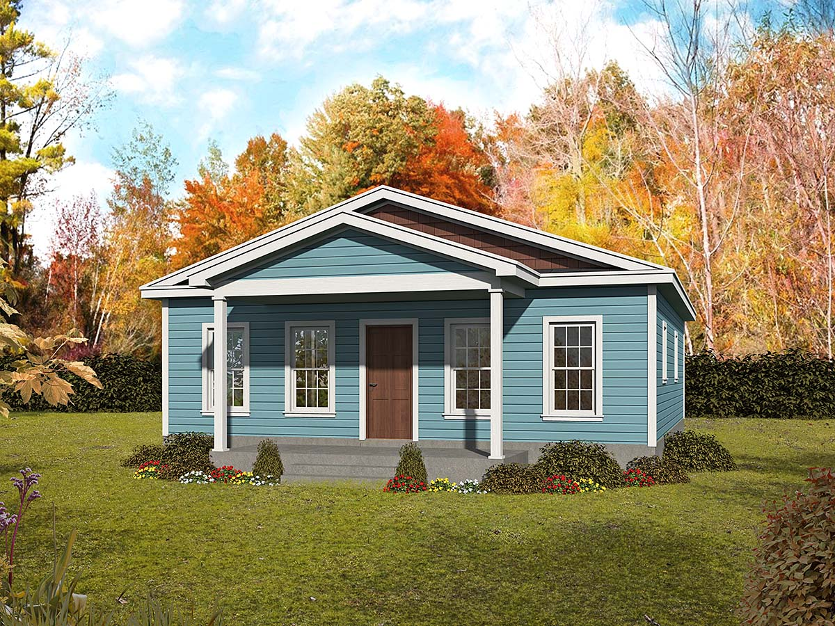 Country, Traditional House Plan 52133 with 2 Beds, 2 Baths Elevation