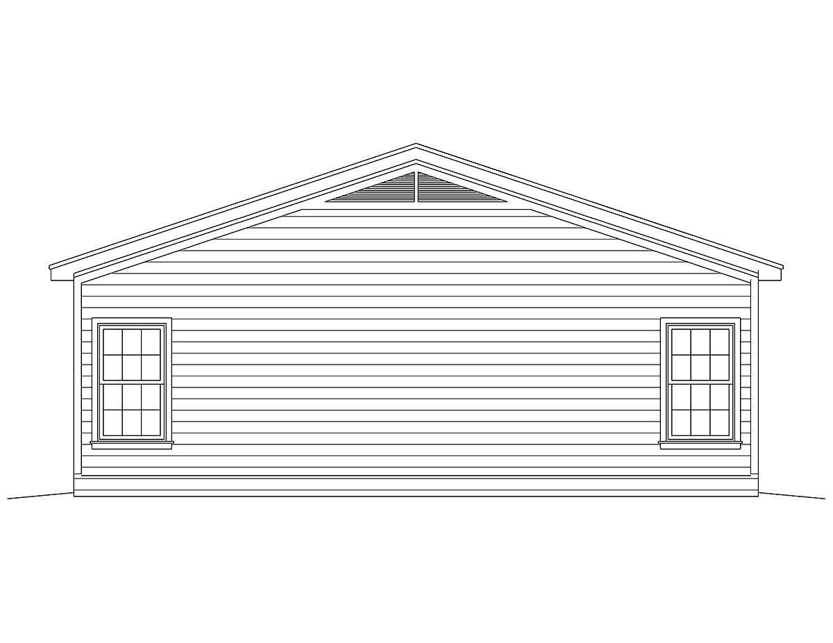 Country, Traditional House Plan 52133 with 2 Beds, 2 Baths Rear Elevation