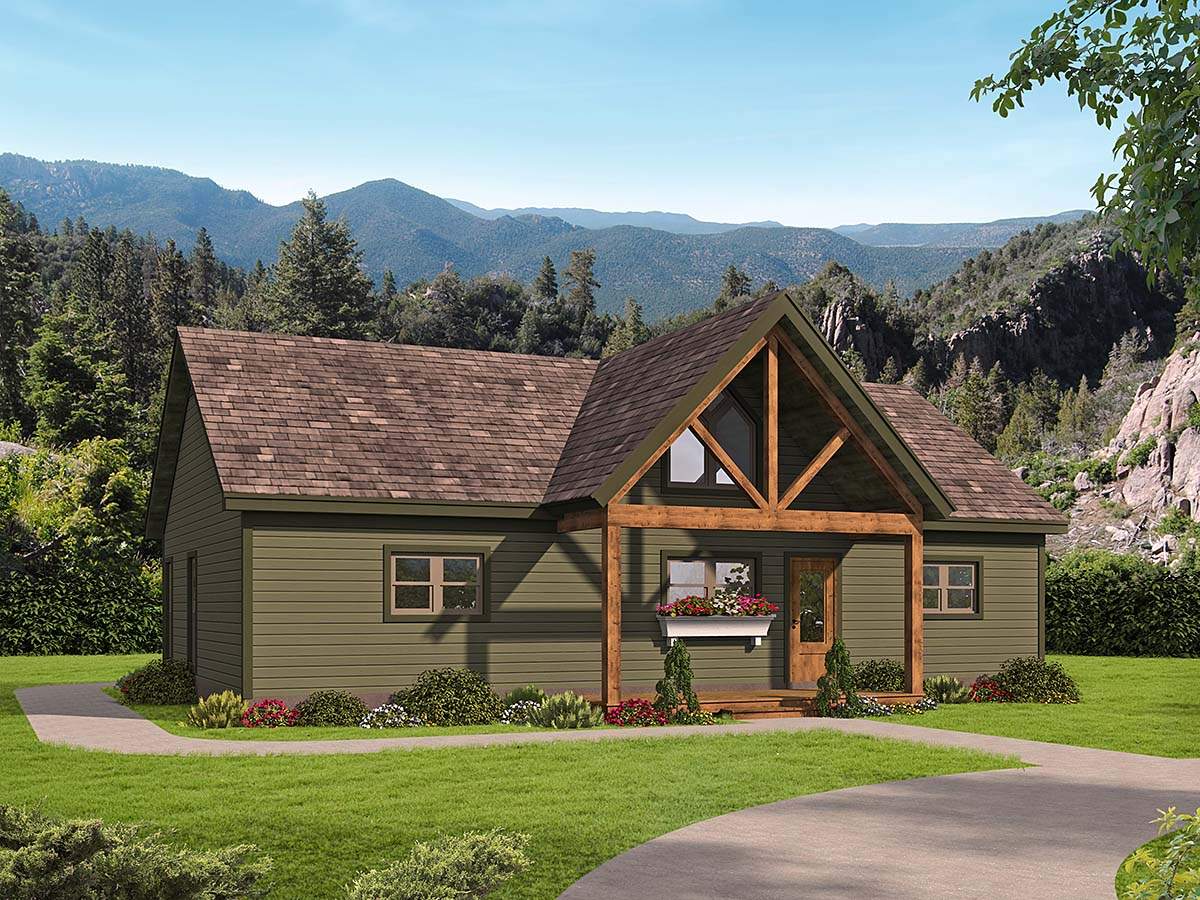 Traditional House Plan 52137 with 2 Beds, 2 Baths Elevation