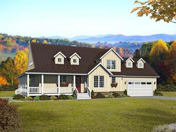 Country, Farmhouse, Traditional House Plan 52144 with 3 Beds, 3 Baths, 2 Car Garage Elevation