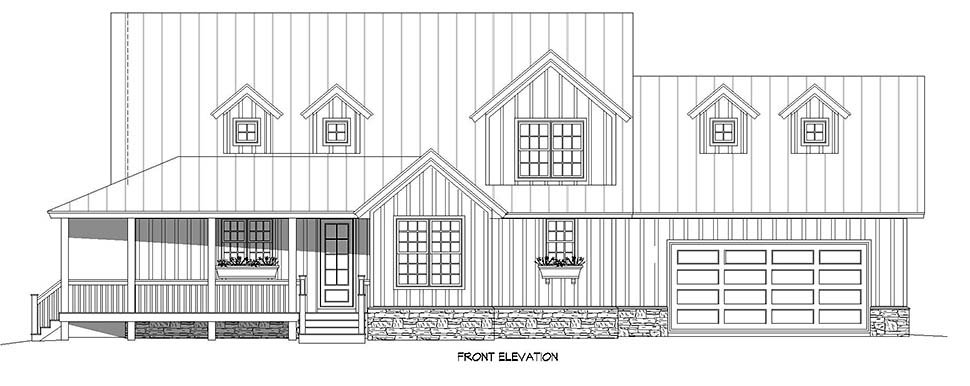 Country, Farmhouse, Traditional House Plan 52144 with 3 Beds, 3 Baths, 2 Car Garage Picture 3