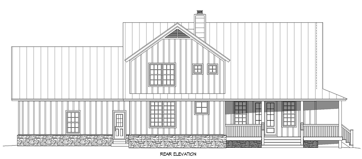Country, Farmhouse, Traditional House Plan 52144 with 3 Beds, 3 Baths, 2 Car Garage Rear Elevation
