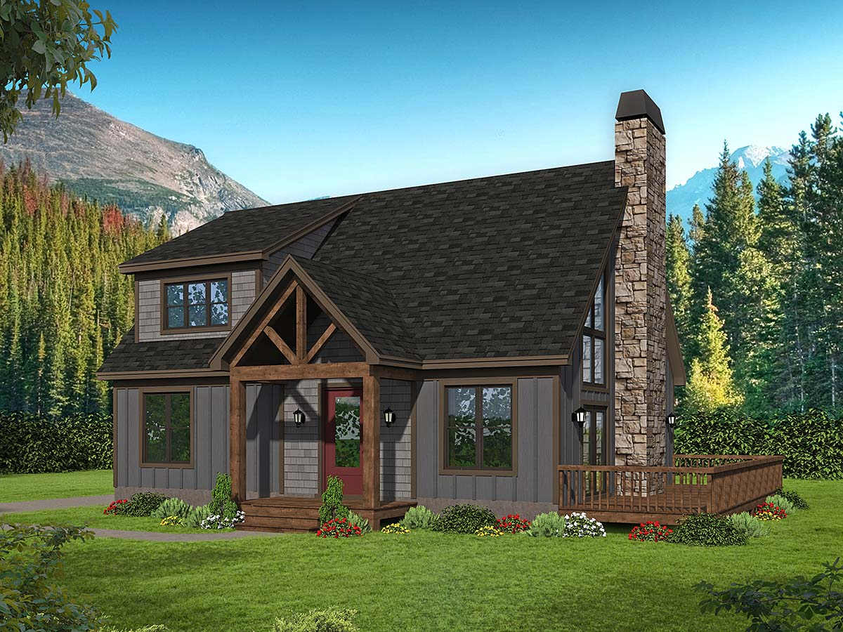 Cabin, Country, French Country, Ranch, Traditional House Plan 52145 with 2 Beds, 2 Baths Elevation