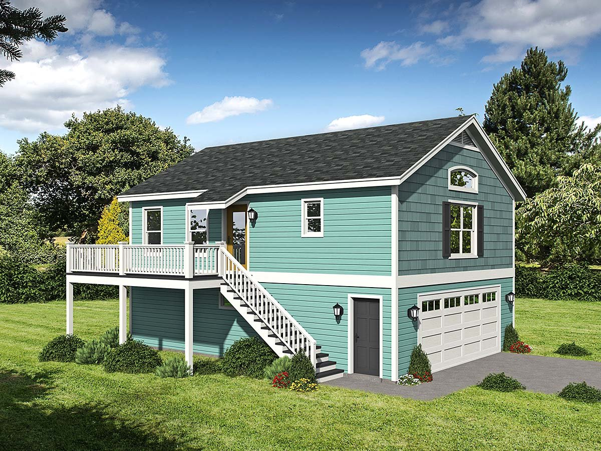 Cape Cod, Saltbox, Traditional Garage-Living Plan 52146 with 1 Beds, 1 Baths, 2 Car Garage Elevation