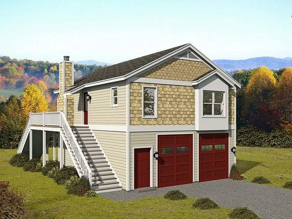 Cape Cod, Saltbox, Traditional Garage-Living Plan 52147 with 1 Beds, 1 Baths, 2 Car Garage Elevation