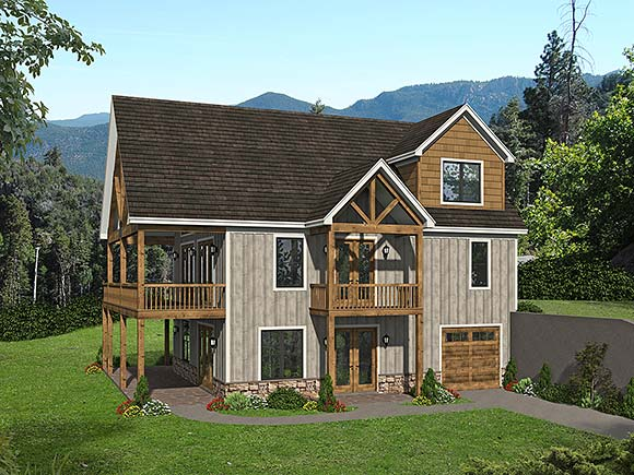 Cabin, Country, Craftsman, Farmhouse, Prairie House Plan 52148 with 3 Beds, 2 Baths, 2 Car Garage Elevation