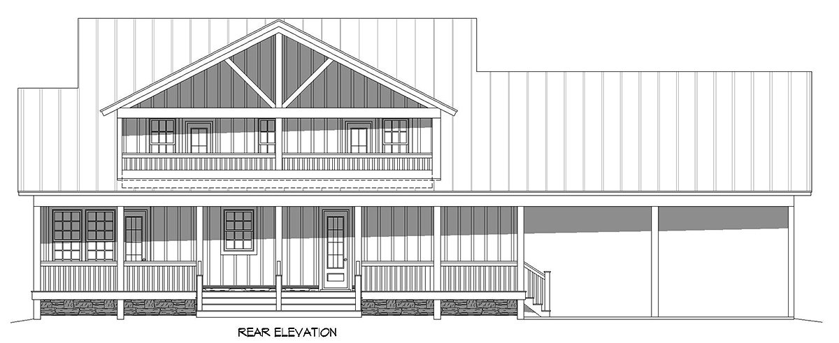 Cabin, Country, Farmhouse House Plan 52150 with 3 Beds, 3 Baths, 2 Car Garage Rear Elevation