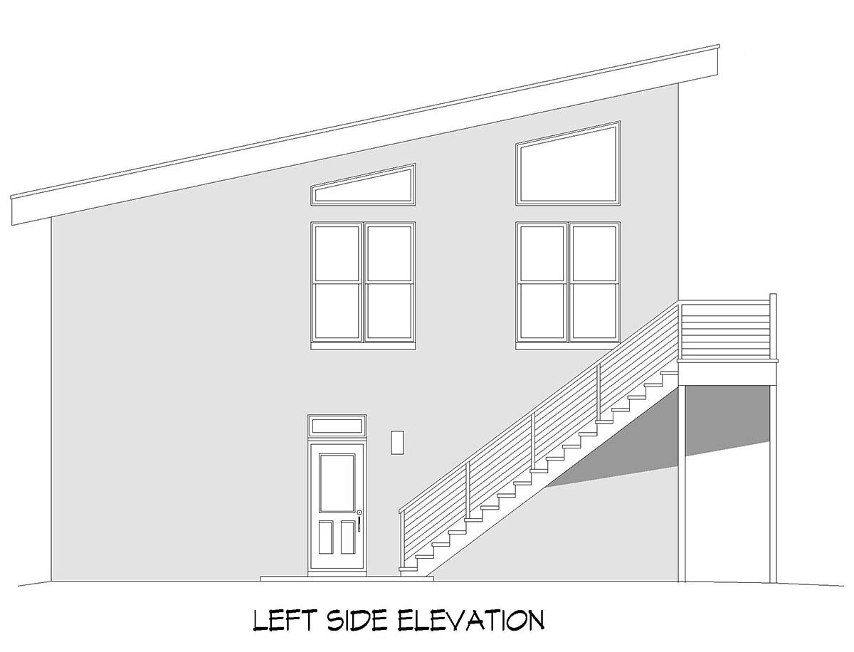 Contemporary, Modern Garage-Living Plan 52156 with 2 Beds, 3 Baths, 4 Car Garage Picture 2
