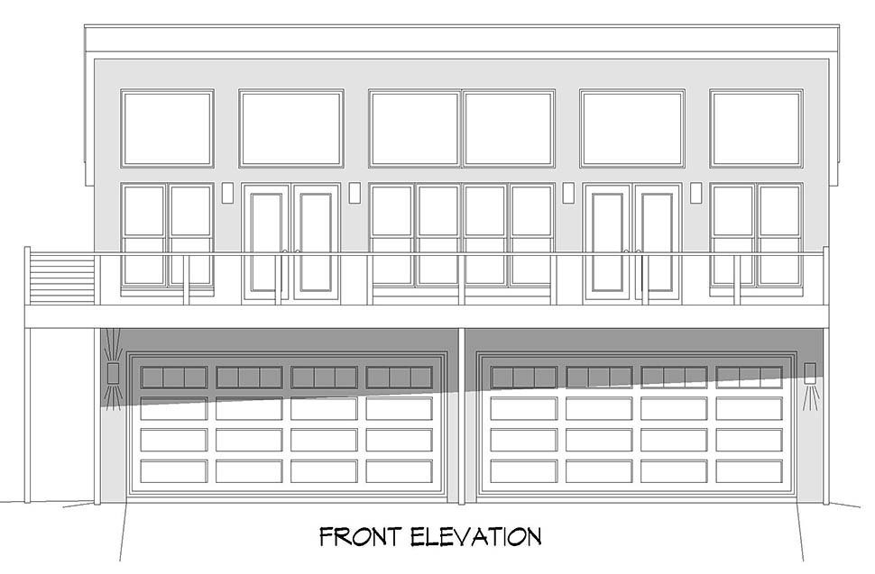 Contemporary, Modern Garage-Living Plan 52156 with 2 Beds, 3 Baths, 4 Car Garage Picture 3