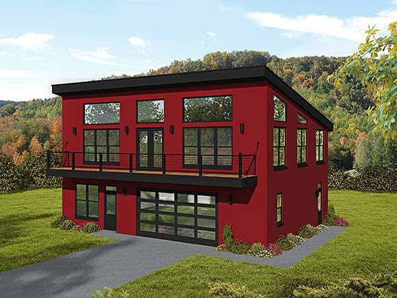 Contemporary, Modern Garage-Living Plan 52162 with 2 Beds, 2 Baths, 2 Car Garage Elevation