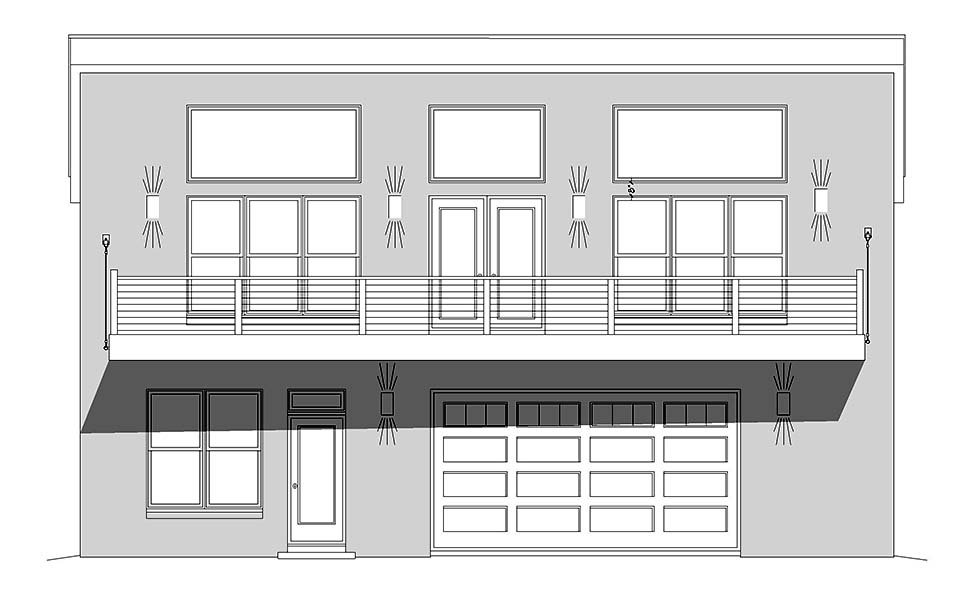 Contemporary, Modern Garage-Living Plan 52162 with 2 Beds, 2 Baths, 2 Car Garage Picture 3