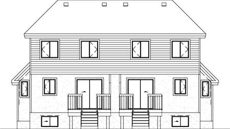 Multi-Family Plan 52424 with 6 Beds, 4 Baths Rear Elevation
