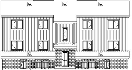 Multi-Family Plan 52426 with 12 Beds, 6 Baths Rear Elevation