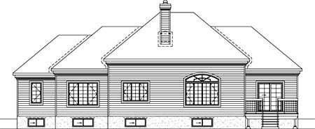 House Plan 52481 with 2 Beds, 3 Baths, 2 Car Garage Rear Elevation