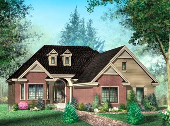 House Plan 52487 with 2 Beds, 3 Baths, 3 Car Garage Elevation