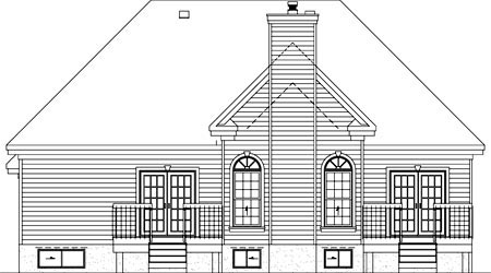 House Plan 52487 with 2 Beds, 3 Baths, 3 Car Garage Rear Elevation