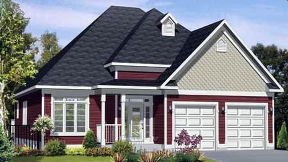 House Plan 52526 with 2 Beds, 2 Baths, 2 Car Garage Elevation