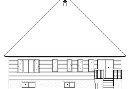 House Plan 52526 with 2 Beds, 2 Baths, 2 Car Garage Rear Elevation