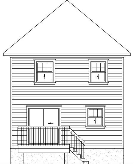 House Plan 52723 with 2 Beds, 2 Baths Rear Elevation