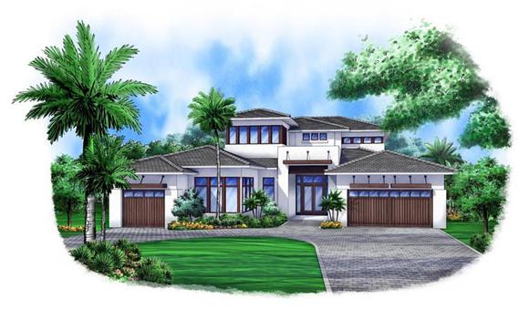 Contemporary House Plan 52903 with 4 Beds, 5 Baths, 3 Car Garage Elevation