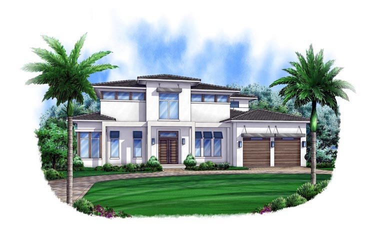 Contemporary House Plan 52905 with 4 Beds, 6 Baths, 3 Car Garage Elevation
