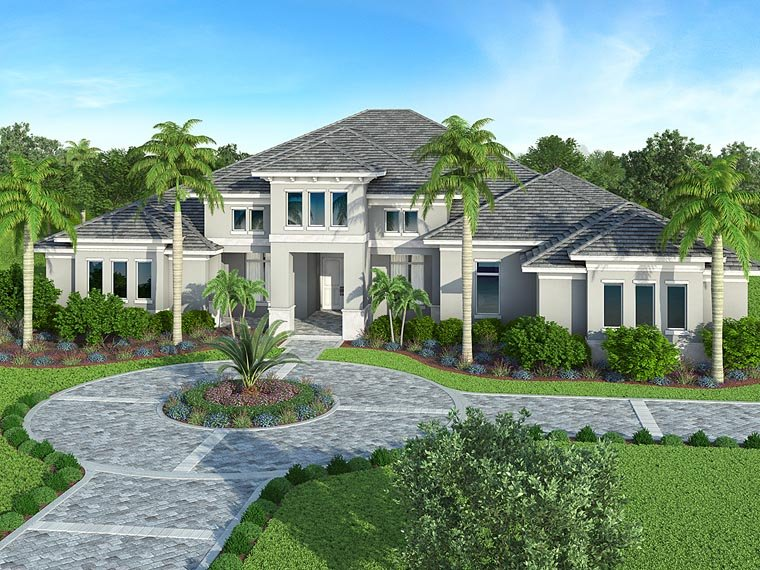 Coastal, Florida, Mediterranean House Plan 52920 with 4 Beds, 5 Baths Elevation