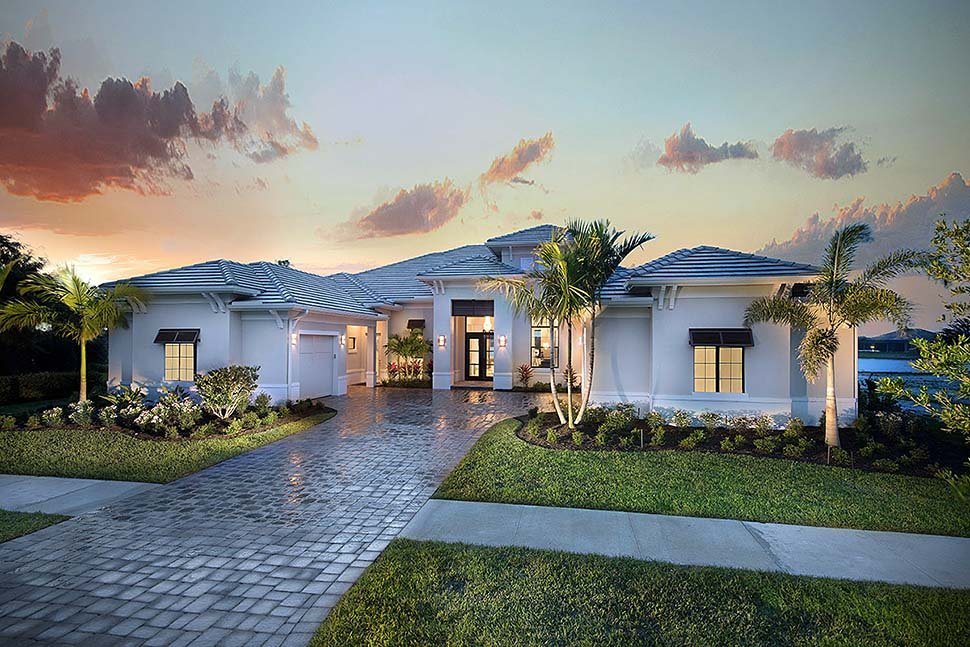 Coastal, Florida, Mediterranean House Plan 52950 with 4 Beds, 5 Baths, 3 Car Garage Elevation