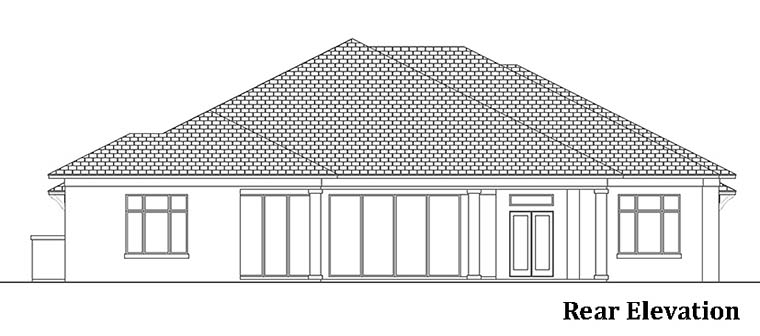 Coastal, Florida, Mediterranean House Plan 52950 with 4 Beds, 5 Baths, 3 Car Garage Rear Elevation