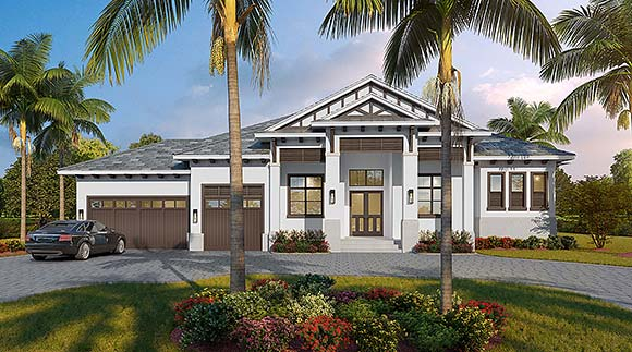 Contemporary, Florida House Plan 52971 with 4 Beds, 4 Baths, 3 Car Garage Elevation
