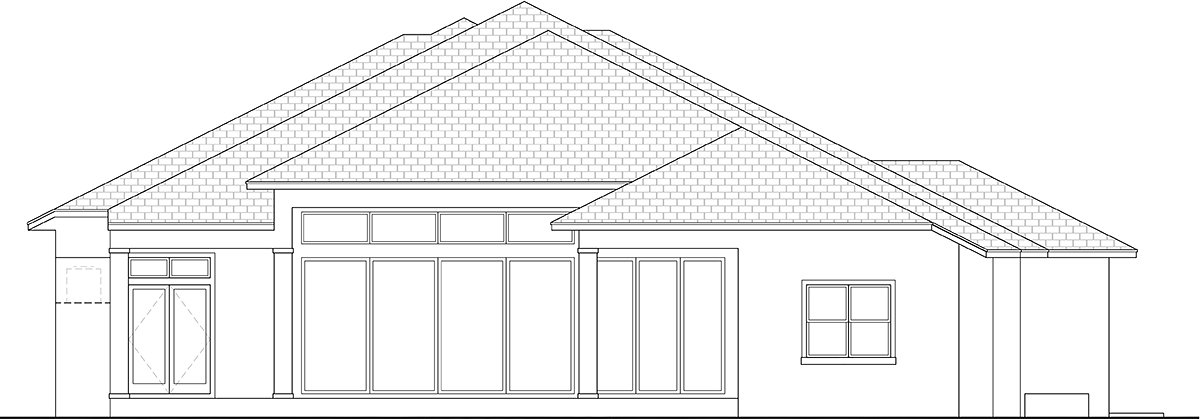 Contemporary, Florida House Plan 52971 with 4 Beds, 4 Baths, 3 Car Garage Rear Elevation